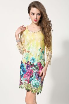 shop for Women Sweet Three Quarters Sleeve Hollow Out Lace Dress and more for everyday cheap prices at Lalalilo.com - Your Online Womens Clothes Store