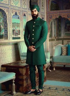 SabyaSachi inspired sherwani with pants ! Made to measure! Wedding Dresses Men Indian, Wedding Dress Men, Wedding Men, Indian Weddings, Farm Wedding, Wedding Couples, Boho Wedding, Wedding Reception, Wedding Ideas