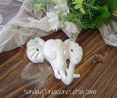 Cottage White Elephant Iron Hook  Animal Wall by SundayTreasures, $13.95