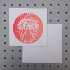 A personal favourite from my Etsy shop https://www.etsy.com/uk/listing/287463041/coral-tonal-linocut-cupcake-greetings