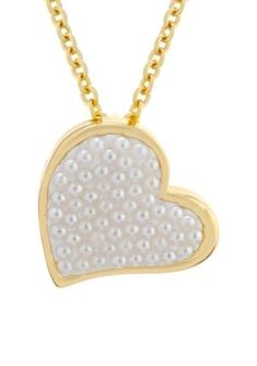 Belk Silverworks Women Yellow Gold Over Fine Silver Plated Caviar Pearl Heart Pendant Necklace - Gold - One Size