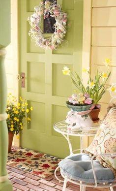 Un porche décoré pour Pâques! A beautiful porch decorated for Easter! Porches, Front Entrances, Decoration Table, Outdoor Decorations, Holiday Decorations, Holiday Ideas, Deco Table, Porch Decorating, Decorating Ideas