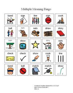 Multiple meaning bingo. Free download!