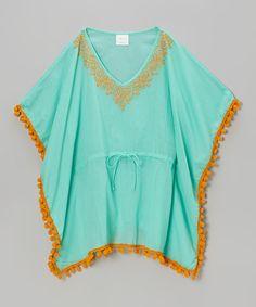 Look at this #zulilyfind! Aqua & Orange Pom-Pom Kaftan - Toddler & Girls by Azul Swimwear #zulilyfinds