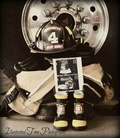 Maternity photos at a local fire department