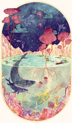 Drawing Fantastical nature illustration by Svabhu Kohli - Illustrator Svabhu Kohli celebrates the splendor of the natural world with intricate works of art. The multi-layered images depict the oceans and cosmos. Art And Illustration, Watercolour Illustration, Creative Illustration, Art Illustrations, Character Illustration, Art Inspo, Art Watercolor, Wow Art, Art Auction