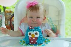 baby owl cake!!!  some purple accent...love the polka dots.