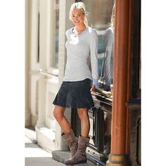 """LOVE this """"Whenever Cord Skirt"""" from www.athleta.gap.com It's look great w. a sweater and my knee-high black boots! Maybe some black tights. Maybe not. :D"""