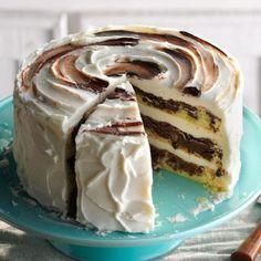 Marvelous Marble Cake Recipe -Pound cake and chocolate make the best marble cake. — Ellen Riley, Birmingham, Alabama Marble Cake Recipes, Layer Cake Recipes, Dessert Recipes, Frosting Recipes, Layer Cakes, Marble Cake Recipe Moist, Yummy Recipes, Layered Desserts, Just Desserts