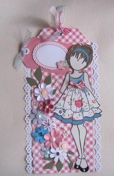 Girl Pink & Blue Floral Prima Paper Doll Tag pre-made for scrapbook pages