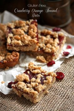 Gluten Free Cranberry Orange Almond Bars with Whole Foods 365 Organic Cranberry Sauce - Country Cleaver Healthy Gluten Free Recipes, Gluten Free Sweets, Foods With Gluten, Gluten Free Cookies, Gluten Free Baking, Paleo, Healthy Snacks, Vegetarian Recipes, Orange Recipes