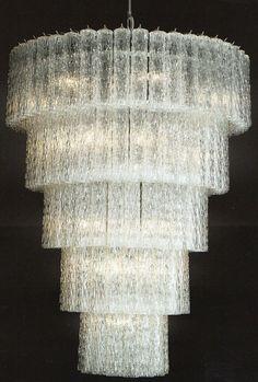 Bespoke 70s style Murano glass prism hallway chandelier