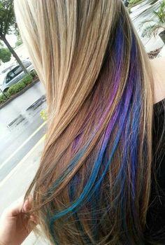 35 Gorgeous Peekaboo Highlights To Enhance Your Hair - Part 7 Hair Color Purple, Purple Teal, Hair Colours, Pastel Hair, Mermaid Hair, Human Hair Extensions, Dyed Hair, Cool Hairstyles, Hair Makeup