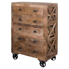 5-drawer mango wood chest with X-shaped side panels and iron wheels.   Product: ChestConstruction Material: Man...