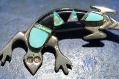 Vintage Signed Navajo Sterling Silver Turquoise Jet & Opal Desert Lizard Pin Brooch