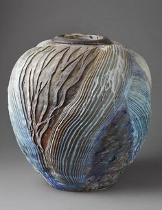 a potter who has clearly mastered the art of geologic movement; this piece is among the plethora of talent showcased from the La Borne area via the link [POTTERY, Georges Sybesma - La Borne, France / via veniceclayartists.com]