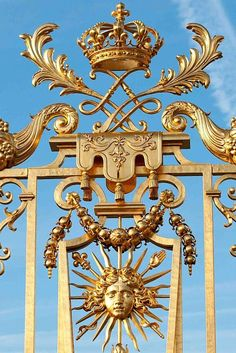 Detail of the main gate of Versailles Palace France