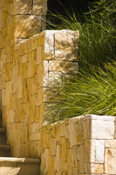 Random sandstone wall. What colour! Designed and constructed by Joanne Green Landscape Design