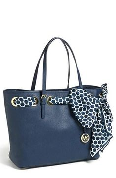 #Michael #Kors #Outlet Welcome To Our Store Jet Set Striped Travel Medium Blue White Totes Online Store