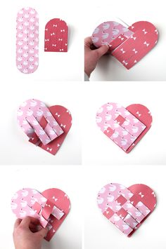 How to make heart craft. Funny Valentine, Roses Valentine, Valentine Baskets, Valentine Crafts, Valentines Origami, Kids Valentines, Valentine Ideas, Heart Diy, Heart Crafts