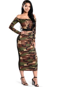 79e70ae4f76 Sexy Off The Shoulder Tea Length Two Piece Women Camo Outfit Suit With  Sleeves