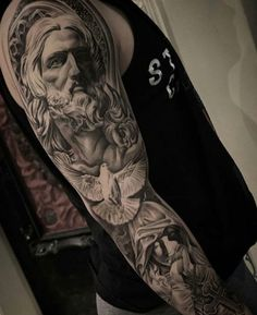 50 Jesus Sleeve Tattoo Designs For Men - Religious Ink Ideas Guys Christian Themed Jesus And Dove Full Sleeve Tattoo Ideas Jesus Tattoo Sleeve, Best Sleeve Tattoos, Tattoo Sleeves, Tattoo Design Drawings, Tattoo Designs Men, Trendy Tattoos, Tattoos For Guys, Tattoos Pics, Fake Tattoos