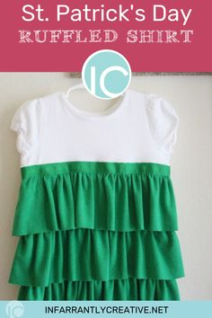 Learn how to sew this adorable DIY ruffled shirt for St. Patrick's Day or customized to any color! Easy Sewing Projects, Diy Craft Projects, Sewing Hacks, Easy Diy Crafts, Fun Diy, Kids Crafts, Ruffle Shirt, Rag Quilt, Diy Home Improvement