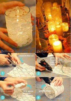 ☆¨´`'*°☆.¸.☆¨´`'*°☆.   ƸӜƷ¸.☆¨´`'*°☆MiniTutorial! #Aliens  ... Candelabros Fáciles... y Románticos.     Una bella idea para decorar velas...