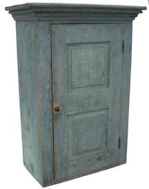 Early century Hanging Cupboard with raised panels, with the original slate gray paint, mortised and peg construction circa - Linda Broughman via Phoebe Troyer onto Antiques Primitive Cabinets, Primitive Furniture, Primitive Antiques, Primitive Bedroom, Primitive Homes, Primitive Country, Blue Furniture, Country Furniture, Antique Furniture