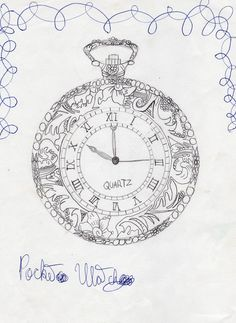 Pretty pocket watch drawing