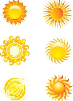 sun art | Set of 6 vector stylized sun illustrations or logos for your summer ...