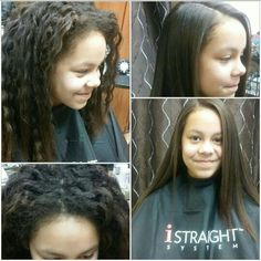Before and after Japanese hair straightening by