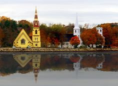 The three churches in Mahone Bay Nova Scotia