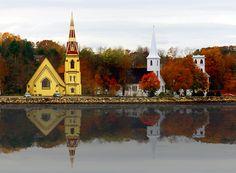 The three churches in Mahone Bay Nova Scotia