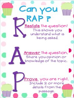 Written Response Anchor Chart Cupcake Theme from Chansi.Akridge from Chansi.Akridge on TeachersNotebook.com (1 page) - Can you rap? Restate Answer Prove Great for a visual reminder to help students answer comprehension questions.