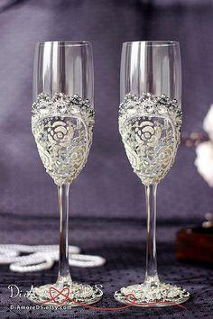 Winter wedding toasting glasses crystalsroses от DiAmoreDS на Etsy