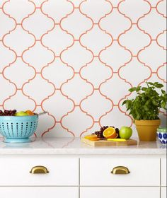 white lantern tile with colored sedona orange hydroment grout - hgtv via atticmag