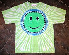 TIE DYE SMILEY FACE T-SHIRT Green & Blue ~ 2XL ~ Cotton Tee Shirt HAPPY FACE