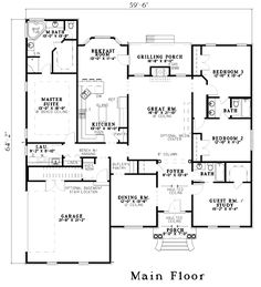 First Floor Plan of European   House Plan 61269       * Remove formal dining and study - leave that area for front porch??