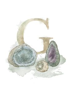 Art print of my own original mixed media illustration. Letter G Geode - Part of an alphabet/initials series featuring natural objects such Alphabet Art, Alphabet And Numbers, Letter Art, Alphabet Soup, Nature Letters, Celtic Art, Embroidery Art, Botanical Illustration, Nursery Art