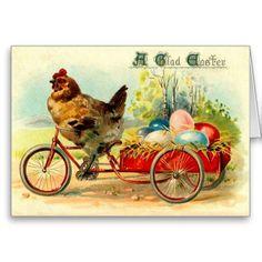 Vintage Easter Cards | Vintage Easter Hen and Eggs Card