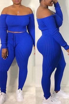 Shyfull Casual Dew Shoulder Blue Two-piece Pants Set Thick Girls Outfits, Sexy Outfits, Girl Outfits, Casual Outfits, Cute Outfits, Fashion Outfits, Beautiful Outfits, Model Outfits, Fashion Clothes