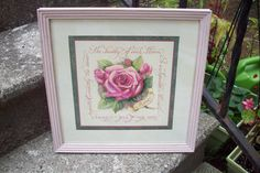 Home Interiors and Gifts framed floral wall plaque, hand painted wood frame Annie Sloan Antoinette pink, Rose bloom, Religious wall art by UpcycledCottageDecor on Etsy