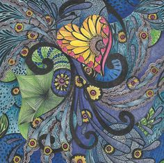 """Tangle expressions of """"Sunshine In My Soul"""". Micron pen, colored with Inktense Pencils. Inktense is a vivid painting medium that turns to ink when blended with water. It is very permanent of fabric and paper. Shading is done by layering."""