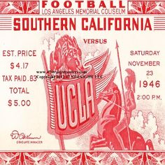 1946 USC vs. UCLA football ticket drink coasters. Best Cyber Monday Gifts! Best Cyber Monday Football Gifts. #cybermonday #bestcybermondaygifts #47straight http://www.bestcybermondaygifts.com/ best cyber monday gifts for football fans!