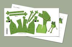 """Postcard DIY frog  PAPERWOLF+Postkarte+""""Mini-Frosch""""+Kantenhocker+von+Paperwolfs+Shop+auf+DaWanda.com"""