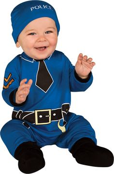 There is a new sheriff in your arms to keep the law and order in our Police Jumper Baby Costume. Infant boys and girls will bring a new caliber of cuteness to the justice department during occupational dress-up. From the Baby's 1st Halloween collection, our baby Police Costume includes a blue jumper with printed tie, rank insignia, belt and handcuff graphics, blue 'Police' beanie hat and pair of black booties. Diaper changes are made easy with the snap closure on the jumper. Let them…