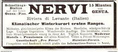 Original-Werbung/ Anzeige 1907 - WINTERKURORT NERVI BEI GENUA - Ca. 90 X 45 Mm - Werbung