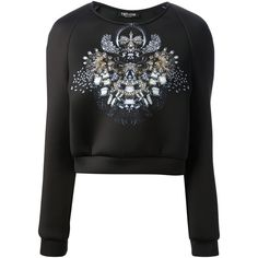TOTHEM jewel printed sweater ($185) ❤ liked on Polyvore featuring tops, sweaters, sweatshirt, jewel sweater, jeweled crop top, long sleeve sweater, long sleeve crop sweater and print top