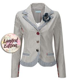 Fab Ticking Stripe Jacket  - Fab Ticking Stripe Jacket, Women's Coats and Jackets, Womens Clothing, Clothing, Accessories, Joe Browns